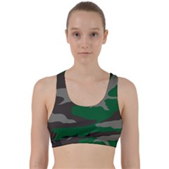 Army Green Camouflage Back Weave Sports Bra by Samandel