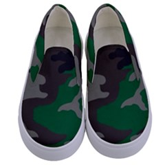 Army Green Camouflage Kids  Canvas Slip Ons