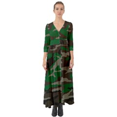 Army Green Camouflage Button Up Boho Maxi Dress