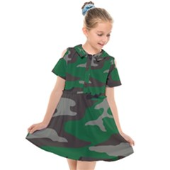 Army Green Camouflage Kids  Short Sleeve Shirt Dress