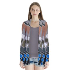 Abstract Composition Drape Collar Cardigan by Samandel