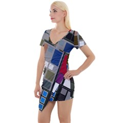 Abstract Composition Short Sleeve Asymmetric Mini Dress by Samandel