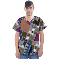 Abstract Composition Men s V Neck Scrub Top