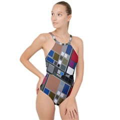 Abstract Composition High Neck One Piece Swimsuit