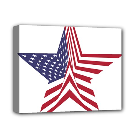 A Star With An American Flag Pattern Deluxe Canvas 14  X 11  (stretched) by Samandel
