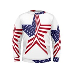 A Star With An American Flag Pattern Kids  Sweatshirt