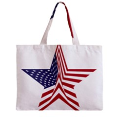 A Star With An American Flag Pattern Zipper Mini Tote Bag by Samandel