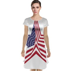 A Star With An American Flag Pattern Cap Sleeve Nightdress
