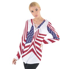 A Star With An American Flag Pattern Tie Up Tee