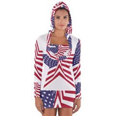 A Star With An American Flag Pattern Long Sleeve Hooded T Shirt