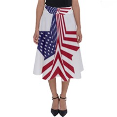 A Star With An American Flag Pattern Perfect Length Midi Skirt