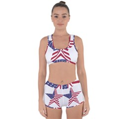 A Star With An American Flag Pattern Racerback Boyleg Bikini Set