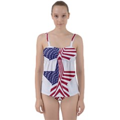 A Star With An American Flag Pattern Twist Front Tankini Set
