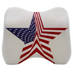 A Star With An American Flag Pattern Velour Head Support Cushion by Samandel