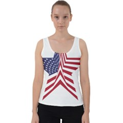 A Star With An American Flag Pattern Velvet Tank Top