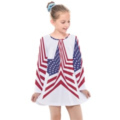 A Star With An American Flag Pattern Kids  Long Sleeve Dress