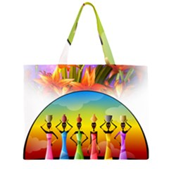African American Women Zipper Large Tote Bag