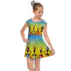 African American Women Kids Cap Sleeve Dress