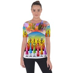 African American Women Shoulder Cut Out Short Sleeve Top