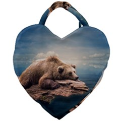 Bear Water Giant Heart Shaped Tote by AnjaniArt