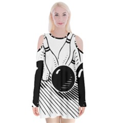 Bowling Ball Sport Velvet Long Sleeve Shoulder Cutout Dress by AnjaniArt