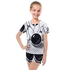 Bowling Ball Sport Kids  Mesh Tee And Shorts Set