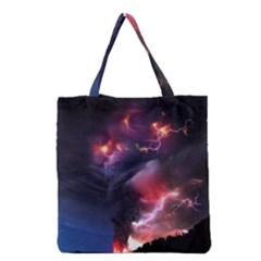 Volcano Lightning Wallpapers Flash Strom Grocery Tote Bag by AnjaniArt