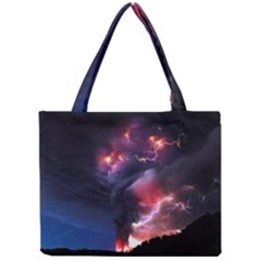 Volcano Lightning Wallpapers Flash Strom Mini Tote Bag by AnjaniArt