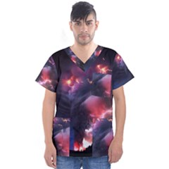 Volcano Lightning Wallpapers Flash Strom Men s V Neck Scrub Top