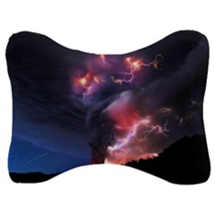 Volcano Lightning Wallpapers Flash Strom Velour Seat Head Rest Cushion by AnjaniArt