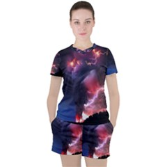 Volcano Lightning Wallpapers Flash Strom Women s Tee And Shorts Set