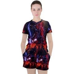 Volcanic Lightning Eruption Women s Tee And Shorts Set