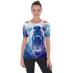 Bear Grizzly Wallpaper Shoulder Cut Out Short Sleeve Top