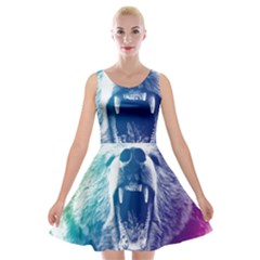 Bear Grizzly Wallpaper Velvet Skater Dress