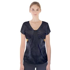 Face Black Eye Cat Short Sleeve Front Detail Top by AnjaniArt
