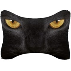 Face Black Eye Cat Seat Head Rest Cushion by AnjaniArt