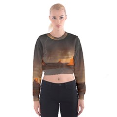 Desert Lighting Strom Flash Cropped Sweatshirt