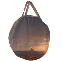 Desert Lighting Strom Flash Giant Round Zipper Tote by AnjaniArt