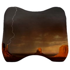 Desert Lighting Strom Flash Velour Head Support Cushion by AnjaniArt