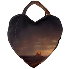 Desert Lighting Strom Flash Giant Heart Shaped Tote by AnjaniArt