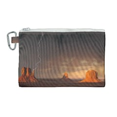 Desert Lighting Strom Flash Canvas Cosmetic Bag (large) by AnjaniArt