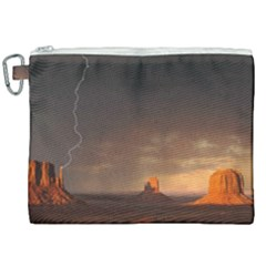 Desert Lighting Strom Flash Canvas Cosmetic Bag (xxl) by AnjaniArt
