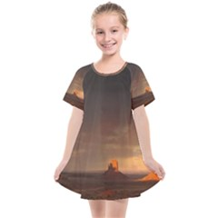 Desert Lighting Strom Flash Kids  Smock Dress