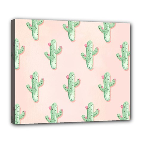 Green Cactus Pattern Deluxe Canvas 24  X 20  (stretched)