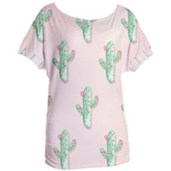 Green Cactus Pattern Women s Oversized Tee by AnjaniArt