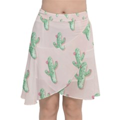 Green Cactus Pattern Chiffon Wrap Front Skirt
