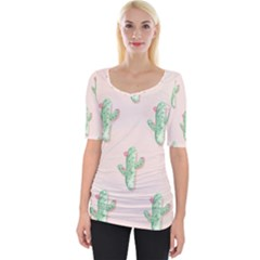 Green Cactus Pattern Wide Neckline Tee by AnjaniArt