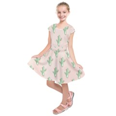 Green Cactus Pattern Kids  Short Sleeve Dress by AnjaniArt