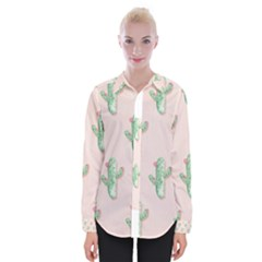 Green Cactus Pattern Womens Long Sleeve Shirt by AnjaniArt