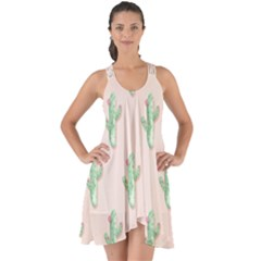 Green Cactus Pattern Show Some Back Chiffon Dress